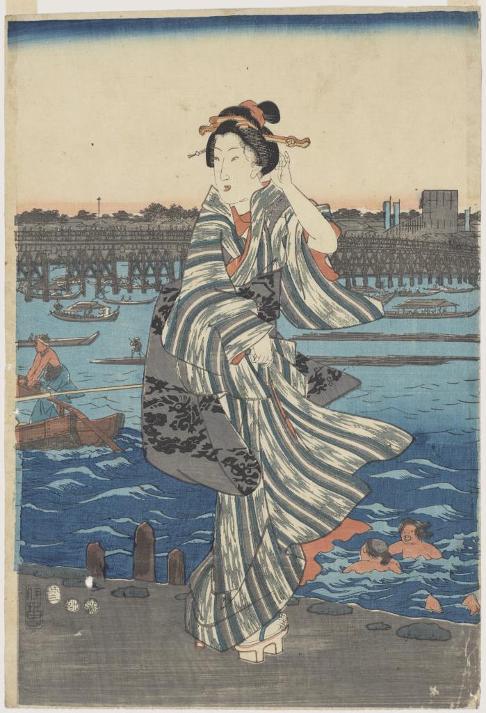 e6e33a00762 Summer Evening at Ryôgoku Bridge (center sheet of a triptych)
